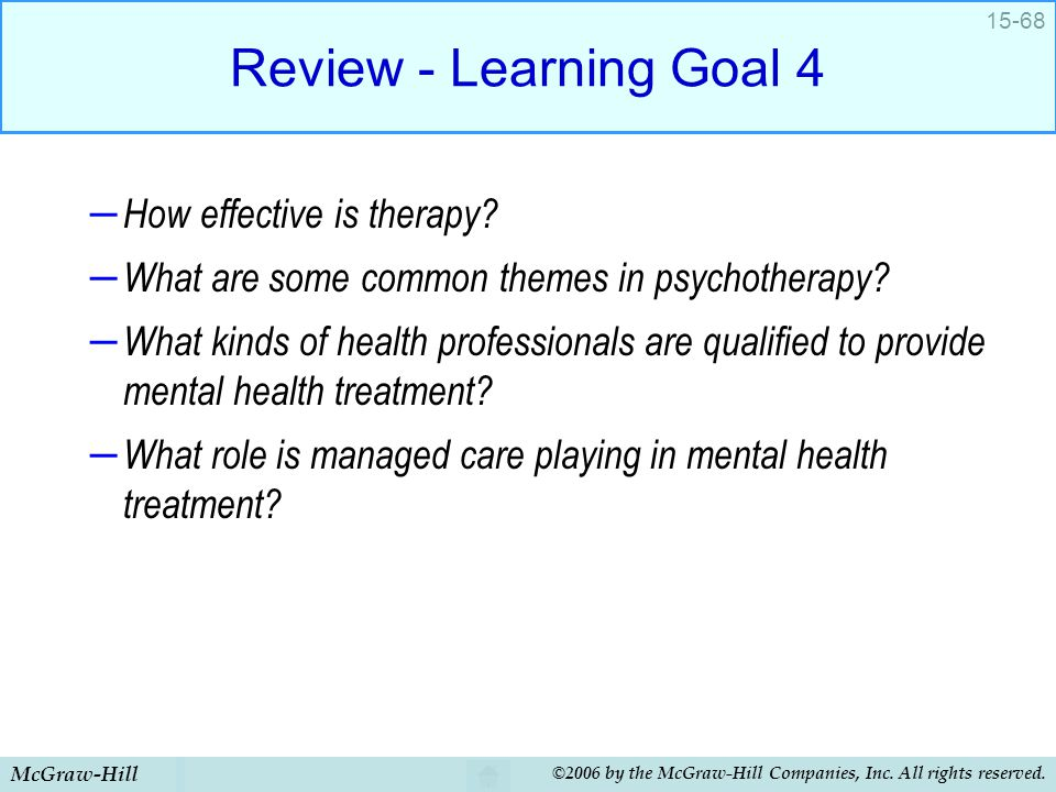 Review - Learning Goal 4 How effective is therapy