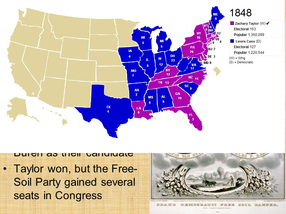 Election of 1848 Continued Many opponents of slavery left their parties and formed the Free-Soil Party.