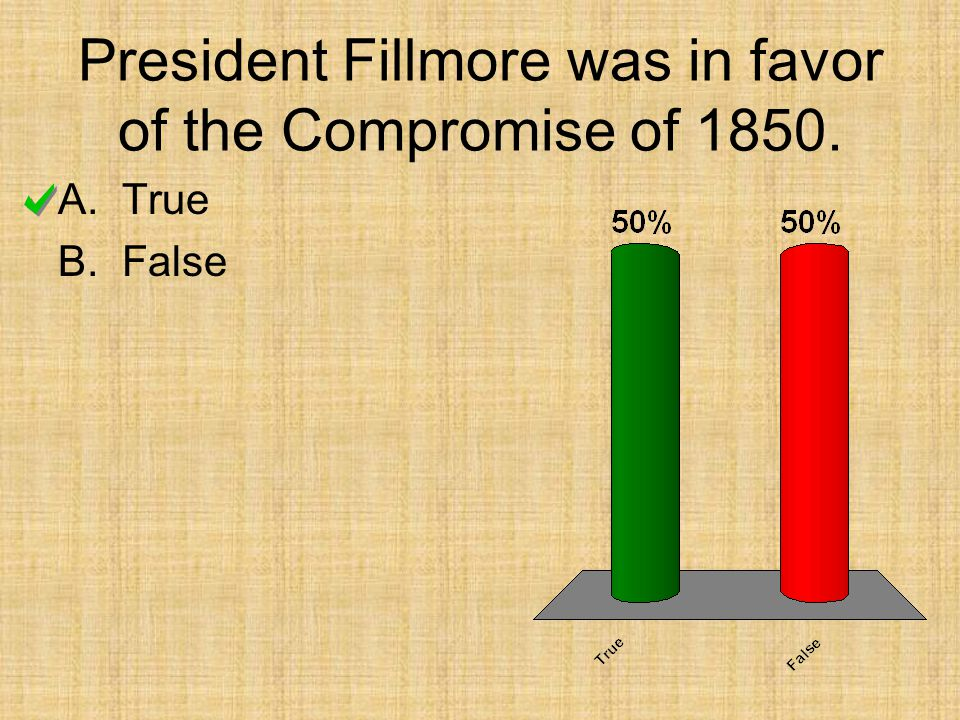 President Fillmore was in favor of the Compromise of 1850.