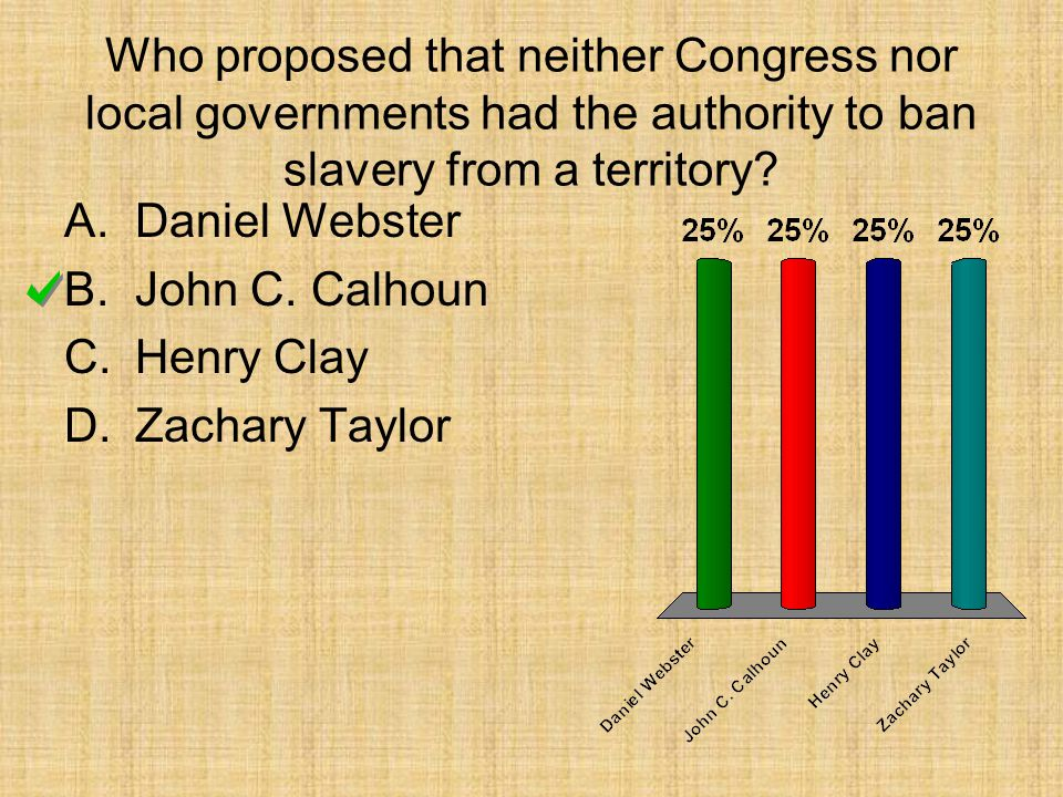 Who proposed that neither Congress nor local governments had the authority to ban slavery from a territory