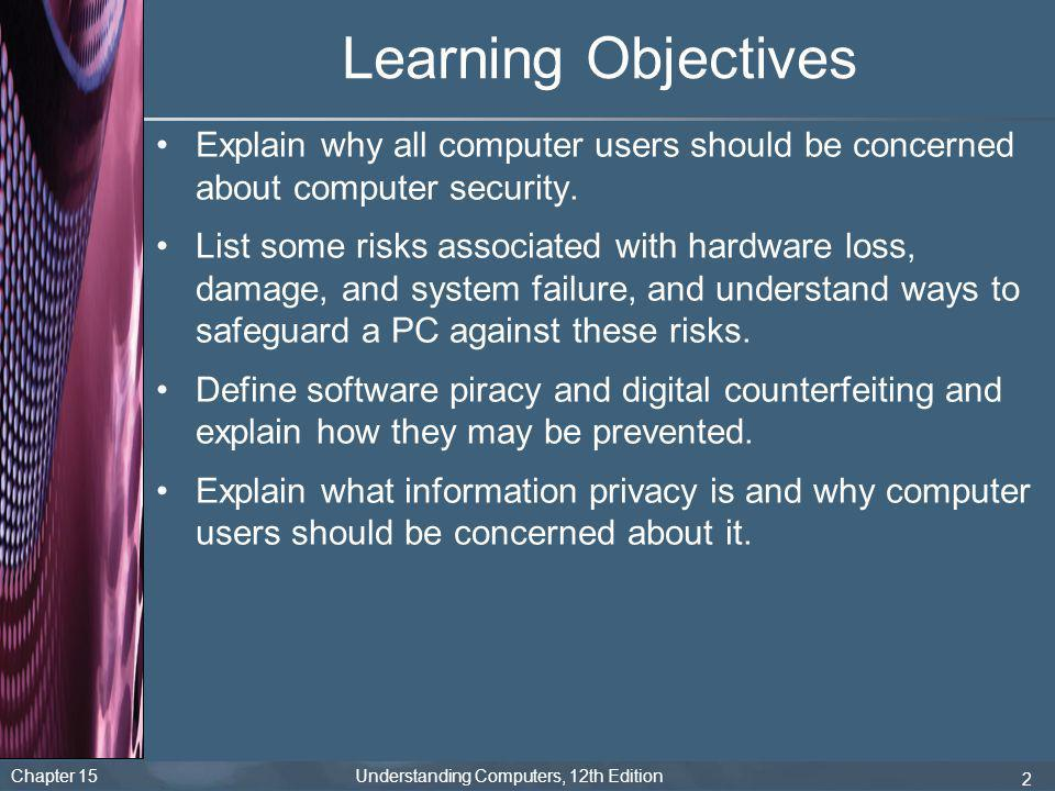 Learning Objectives Explain why all computer users should be concerned about computer security.