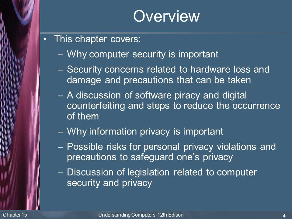 Overview This chapter covers: Why computer security is important