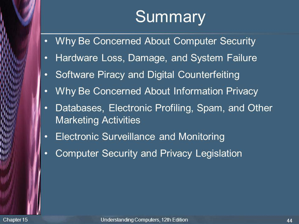 Summary Why Be Concerned About Computer Security