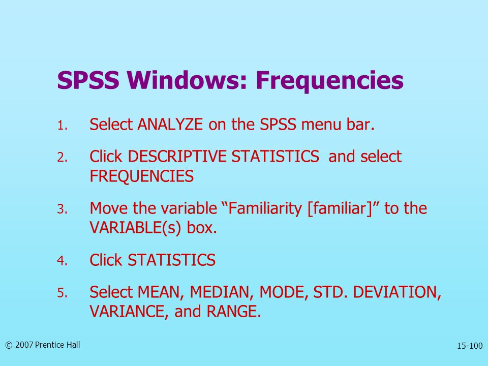 SPSS Windows: Frequencies