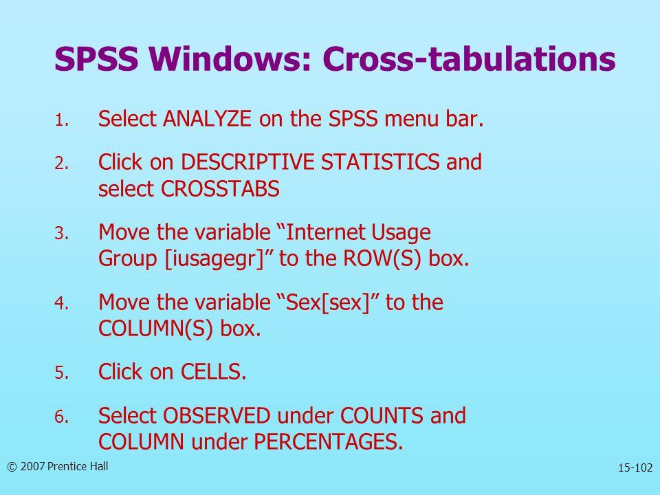 SPSS Windows: Cross-tabulations