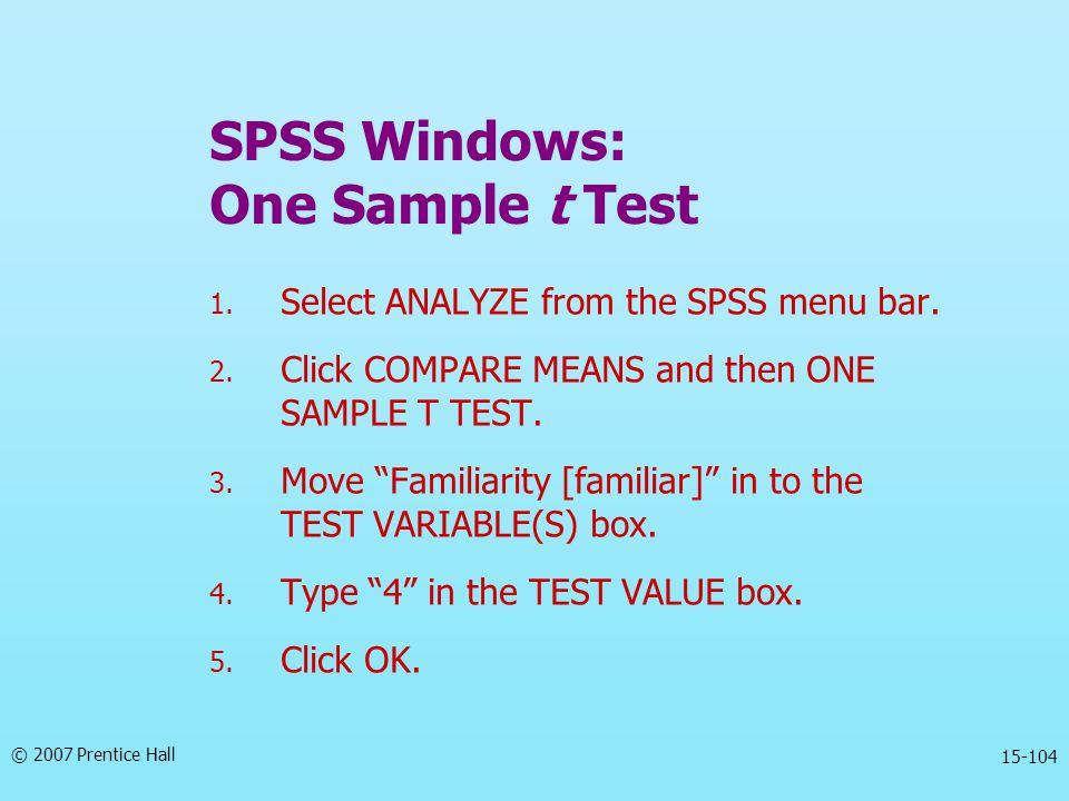 SPSS Windows: One Sample t Test