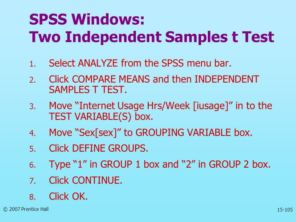 SPSS Windows: Two Independent Samples t Test