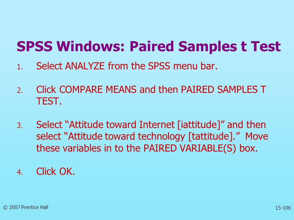 SPSS Windows: Paired Samples t Test
