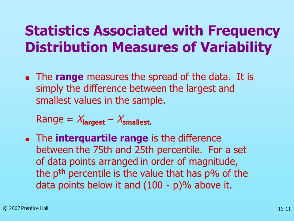 Statistics Associated with Frequency Distribution Measures of Variability