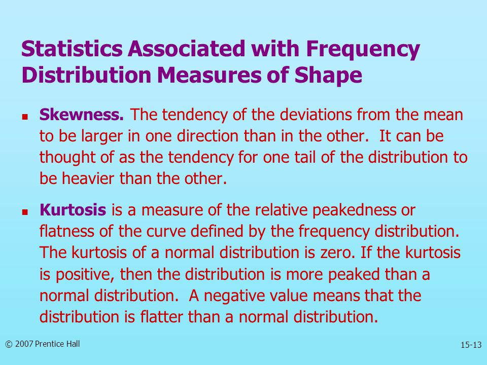 Statistics Associated with Frequency Distribution Measures of Shape