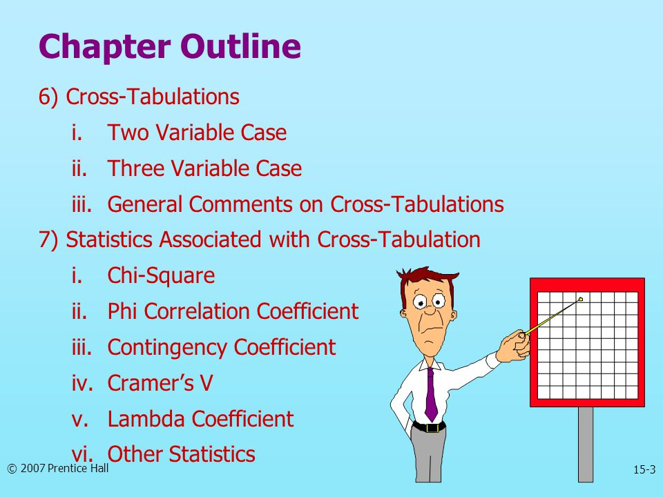 Chapter Outline 6) Cross-Tabulations Two Variable Case