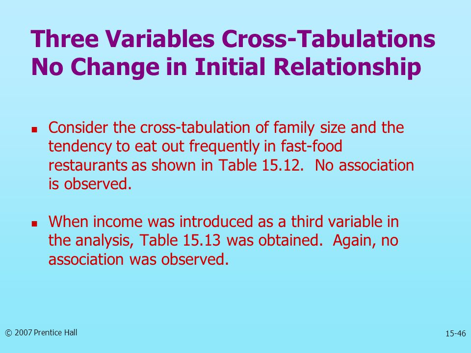 Three Variables Cross-Tabulations No Change in Initial Relationship