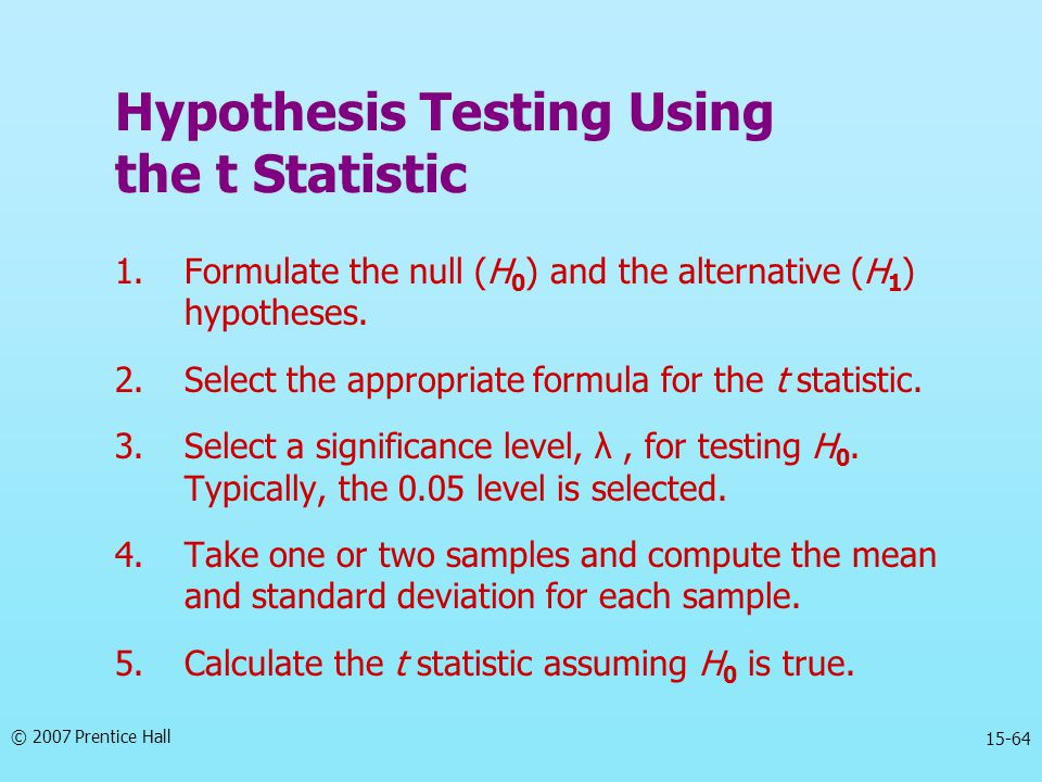 Hypothesis Testing Using the t Statistic