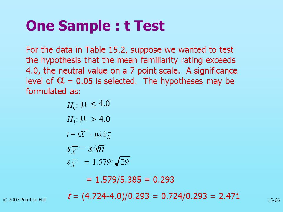 One Sample : t Test For the data in Table 15.2, suppose we wanted to test. the hypothesis that the mean familiarity rating exceeds.