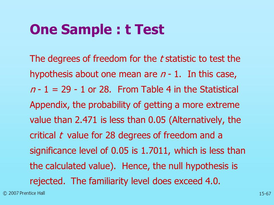 One Sample : t Test