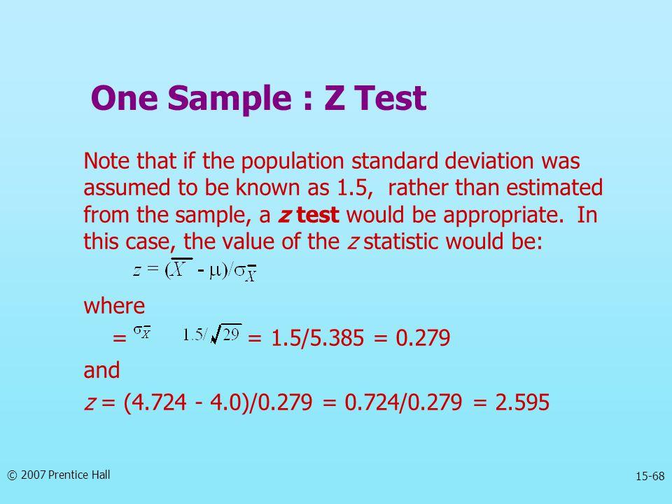 One Sample : Z Test
