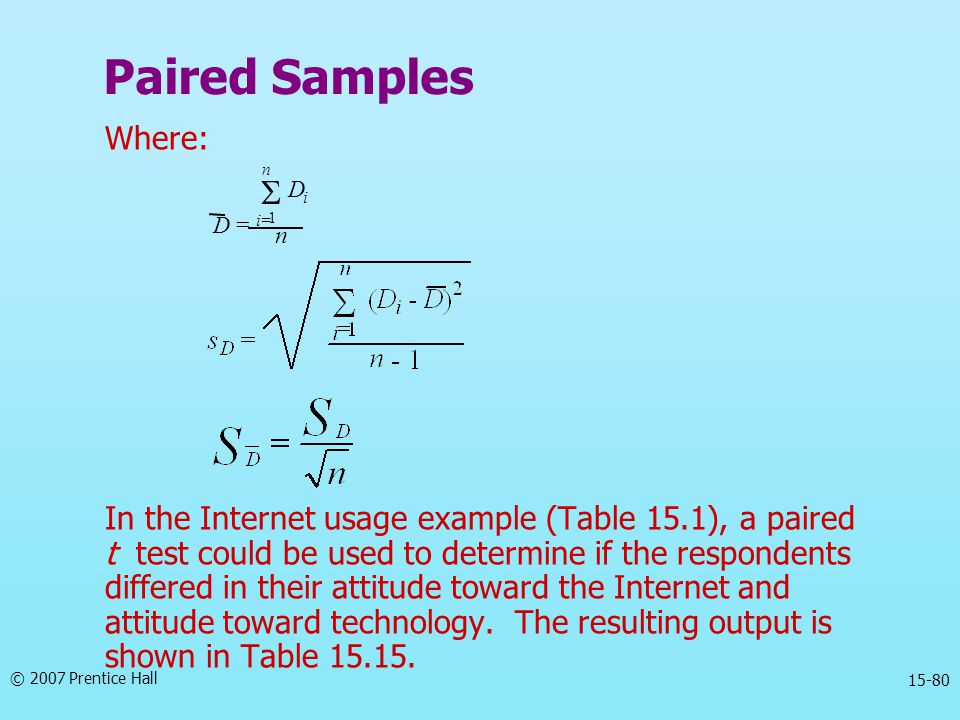 Paired Samples S Where: