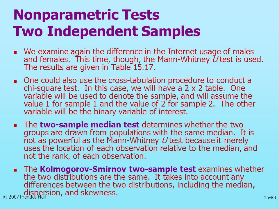 Nonparametric Tests Two Independent Samples