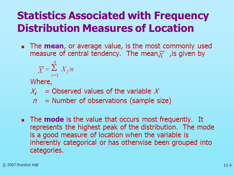 Statistics Associated with Frequency Distribution Measures of Location