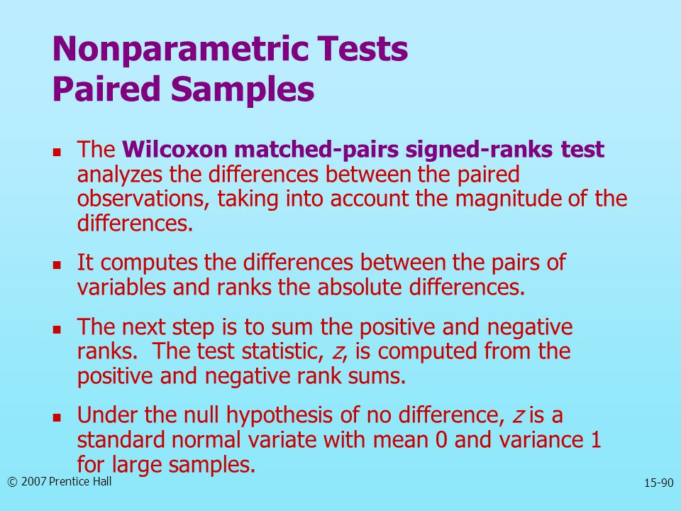 Nonparametric Tests Paired Samples