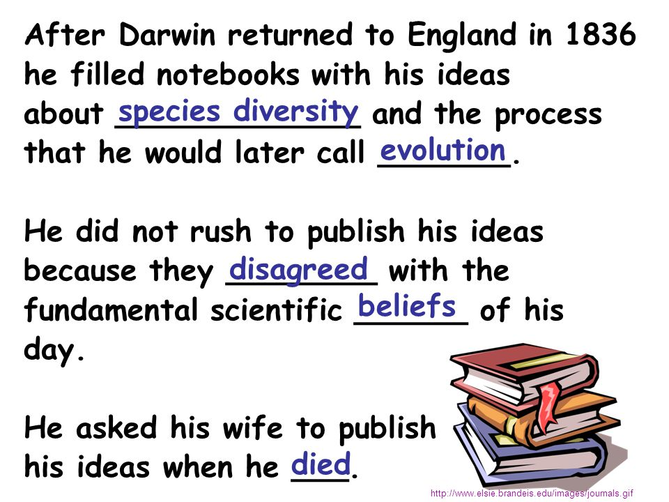 After Darwin returned to England in 1836