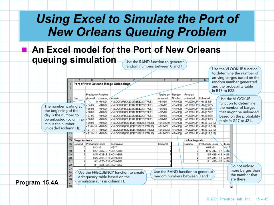 Using Excel to Simulate the Port of New Orleans Queuing Problem