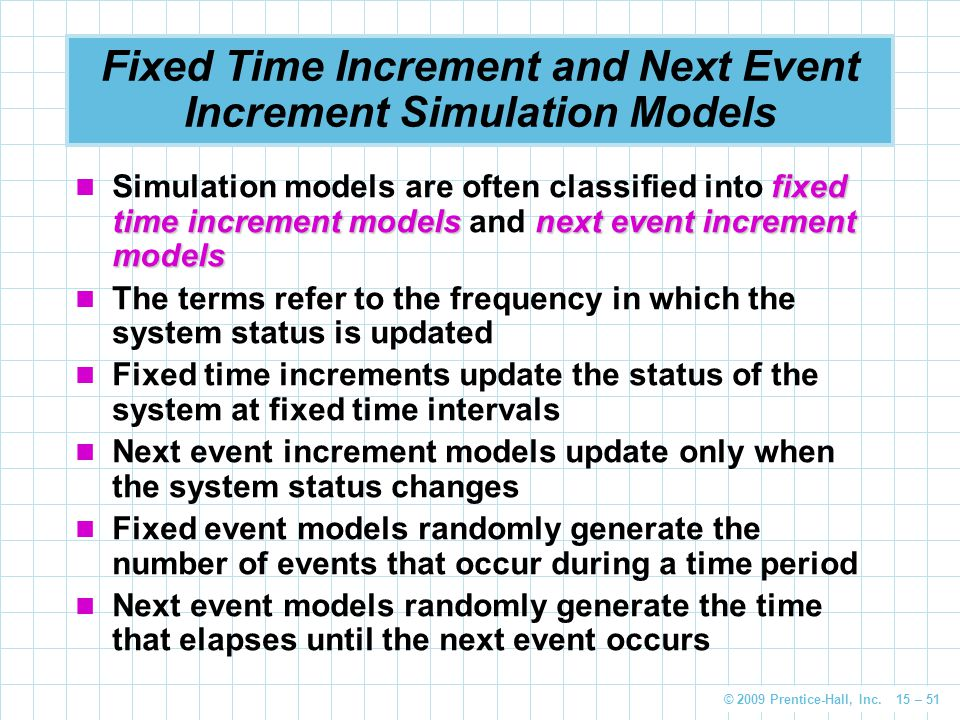 Fixed Time Increment and Next Event Increment Simulation Models