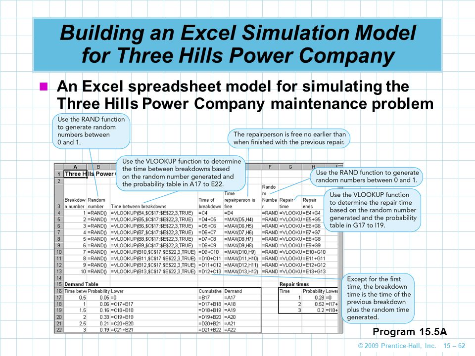 Building an Excel Simulation Model for Three Hills Power Company