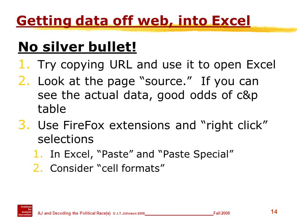 Getting data off web, into Excel