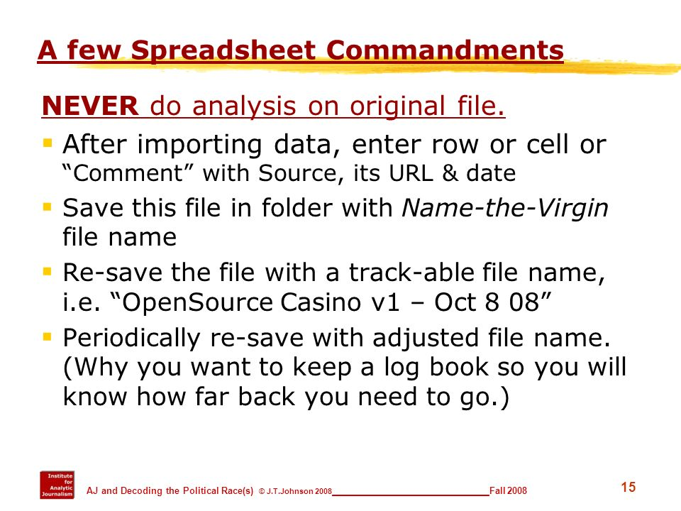 A few Spreadsheet Commandments