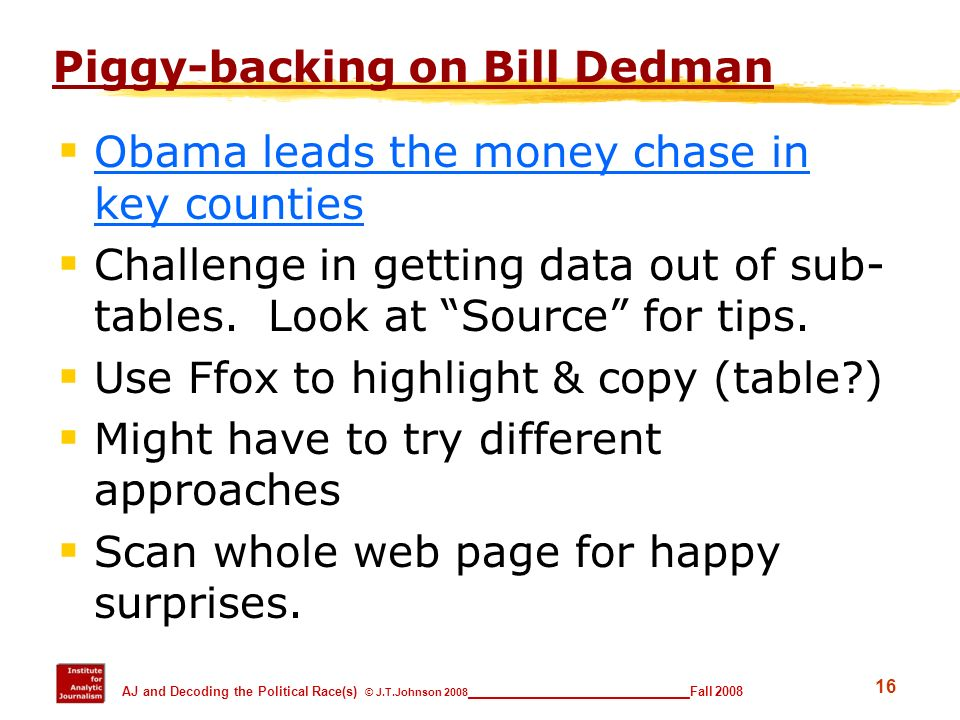 Piggy-backing on Bill Dedman