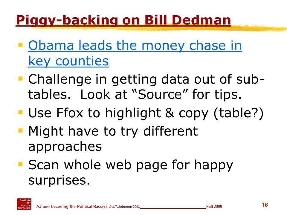 Piggy-backing on Bill Dedman