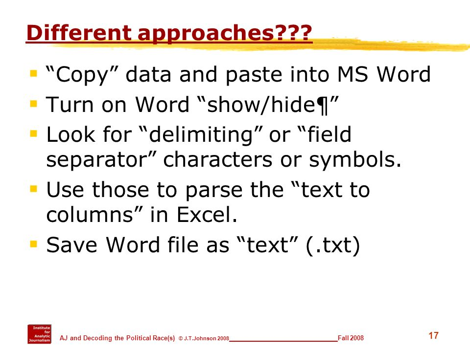 Copy data and paste into MS Word Turn on Word show/hide¶