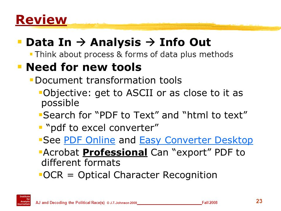 Review Data In  Analysis  Info Out Need for new tools