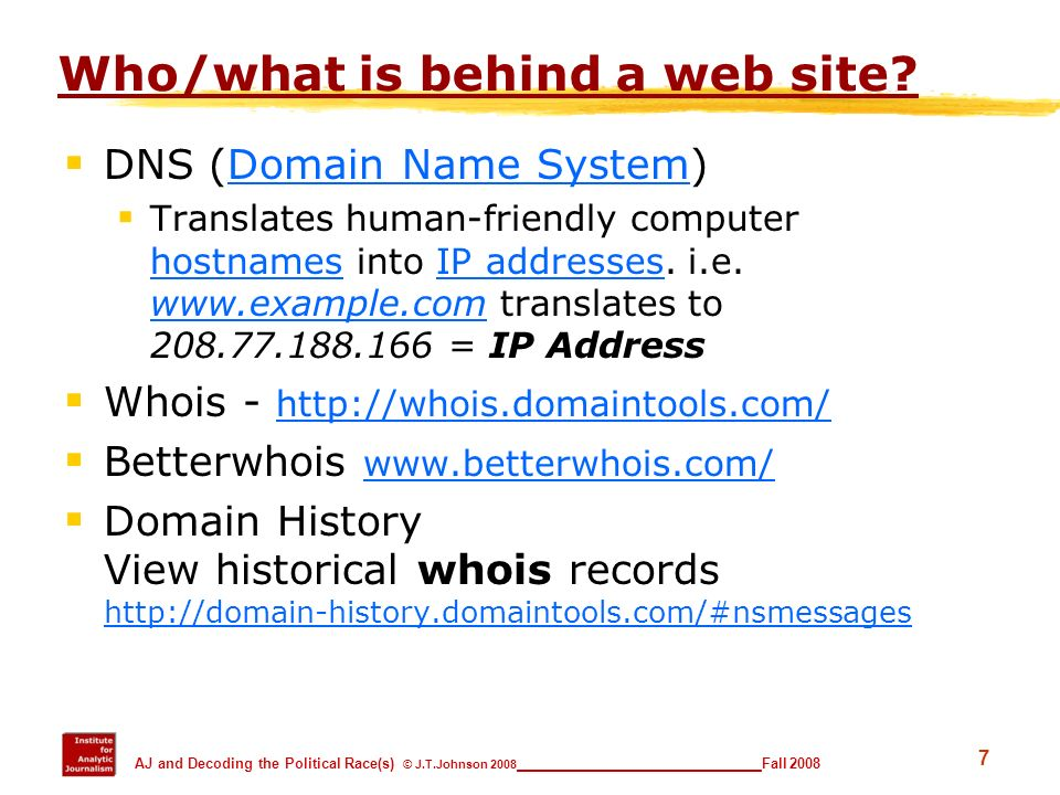 Who/what is behind a web site