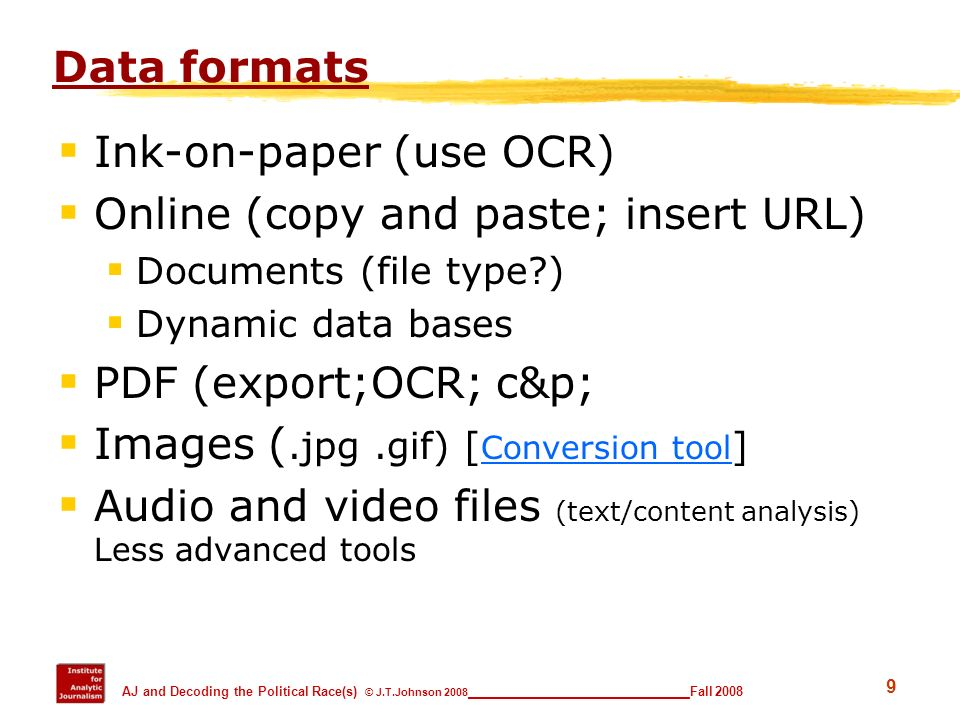 Ink-on-paper (use OCR) Online (copy and paste; insert URL)