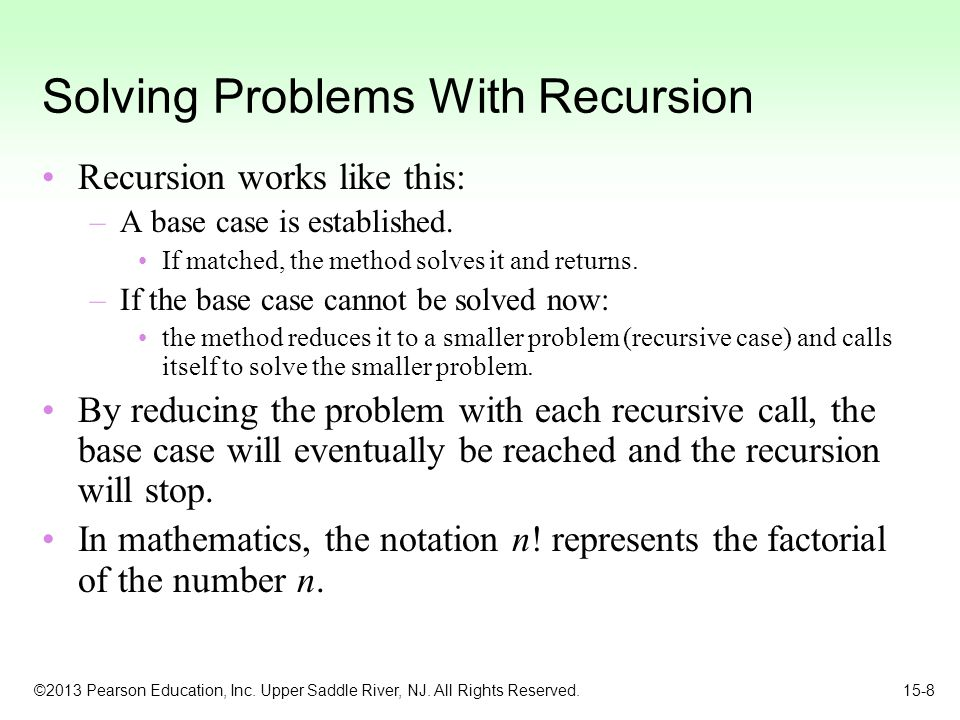 Solving Problems With Recursion