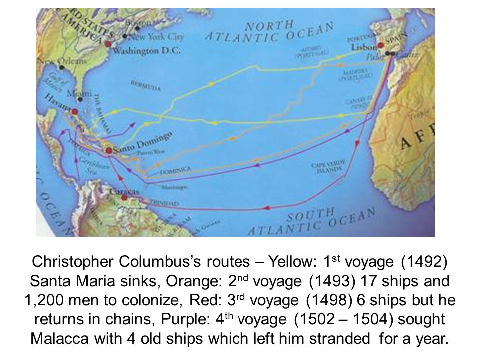 Christopher Columbus's routes – Yellow: 1st voyage (1492) Santa Maria sinks, Orange: 2nd voyage (1493) 17 ships and 1,200 men to colonize, Red: 3rd voyage (1498) 6 ships but he returns in chains, Purple: 4th voyage (1502 – 1504) sought Malacca with 4 old ships which left him stranded for a year.