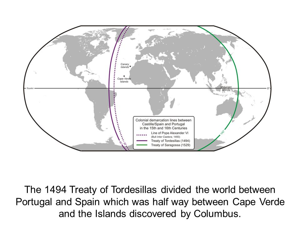 The 1494 Treaty of Tordesillas divided the world between Portugal and Spain which was half way between Cape Verde and the Islands discovered by Columbus.