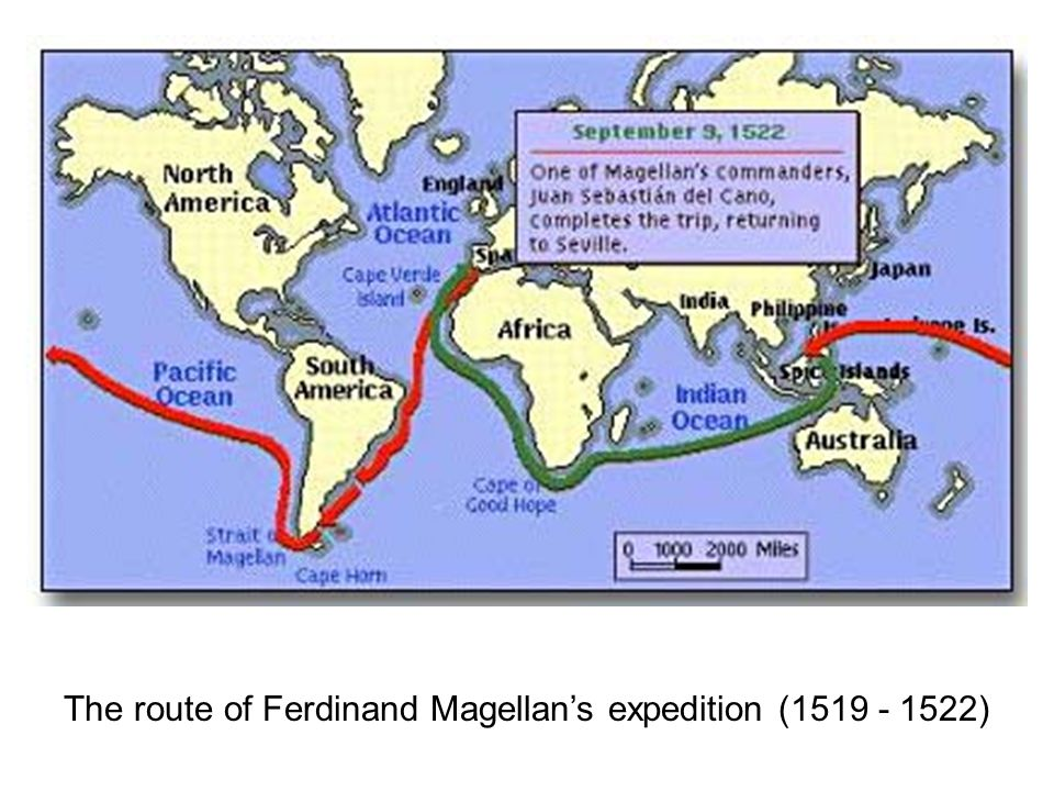 The route of Ferdinand Magellan's expedition (1519 - 1522)