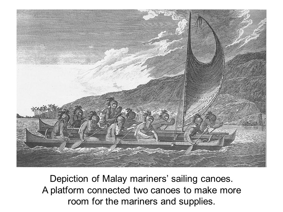 Depiction of Malay mariners' sailing canoes.