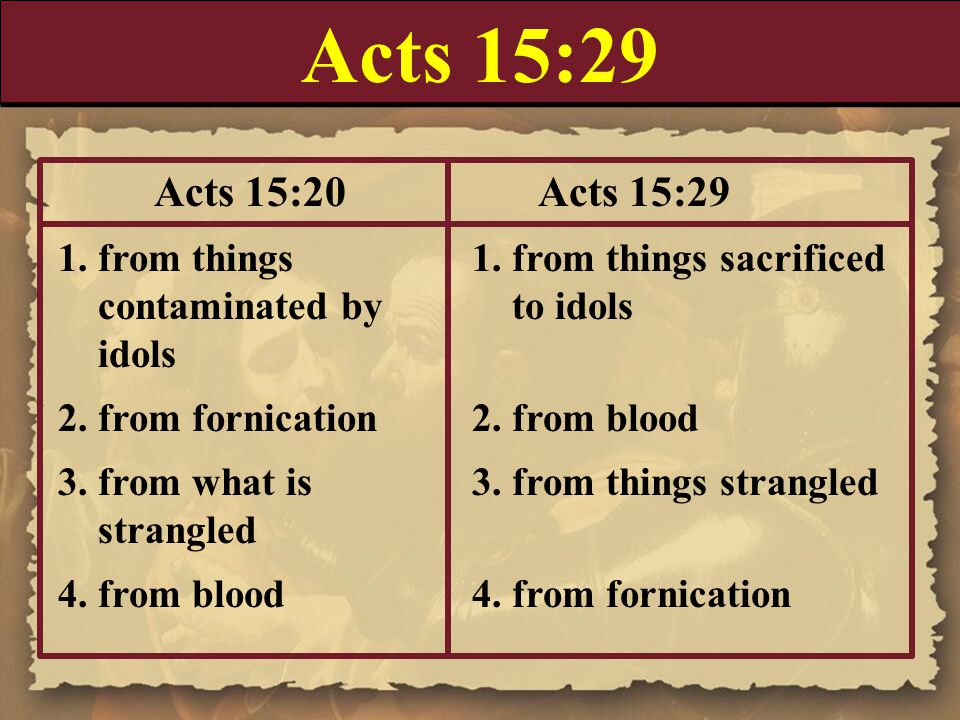 Acts 15:29 Acts 15:20 Acts 15:29. 1. from things 1. from things sacrificed. contaminated by to idols.