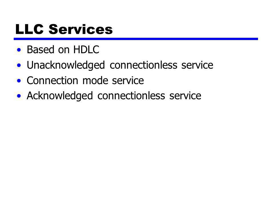LLC Services Based on HDLC Unacknowledged connectionless service