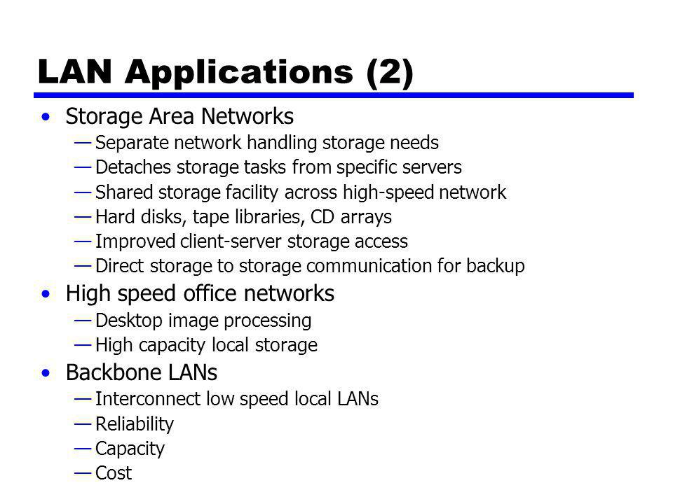 LAN Applications (2) Storage Area Networks High speed office networks
