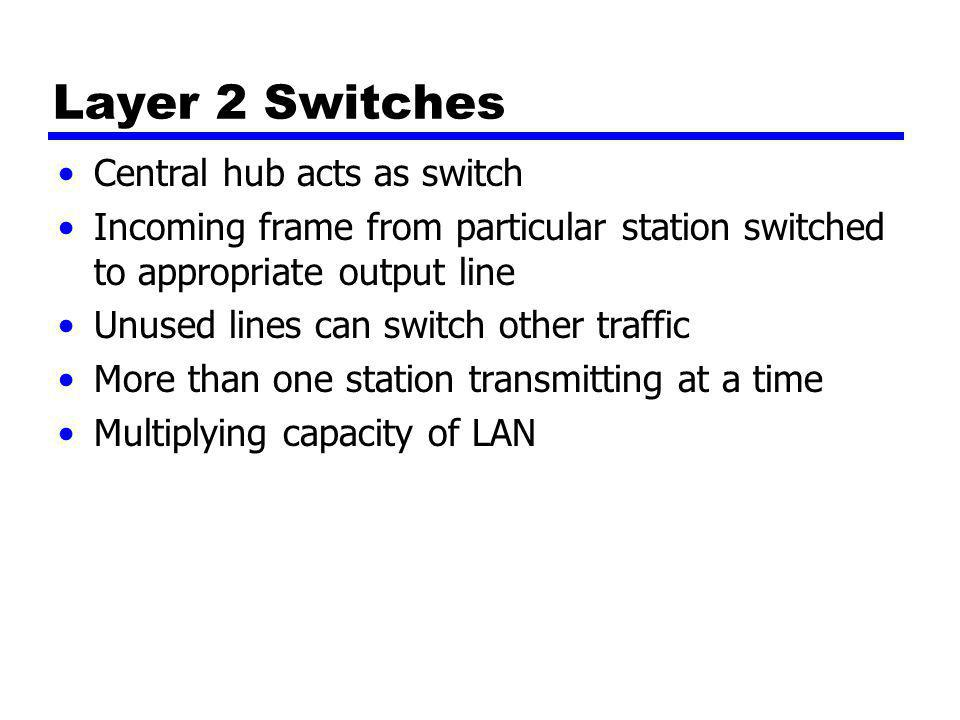 Layer 2 Switches Central hub acts as switch