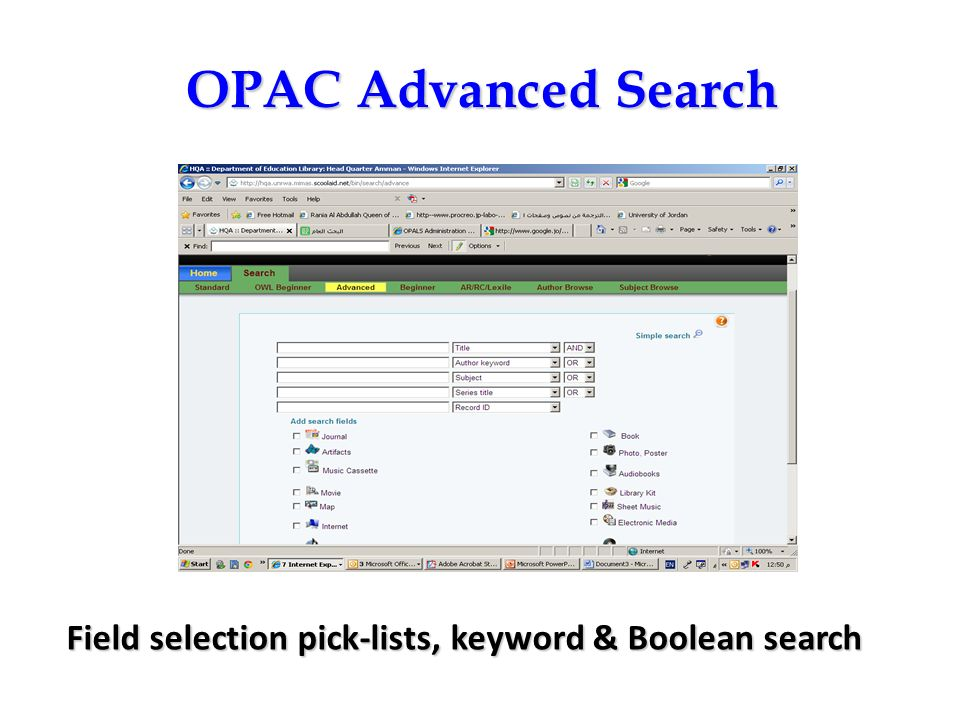 OPAC Advanced Search