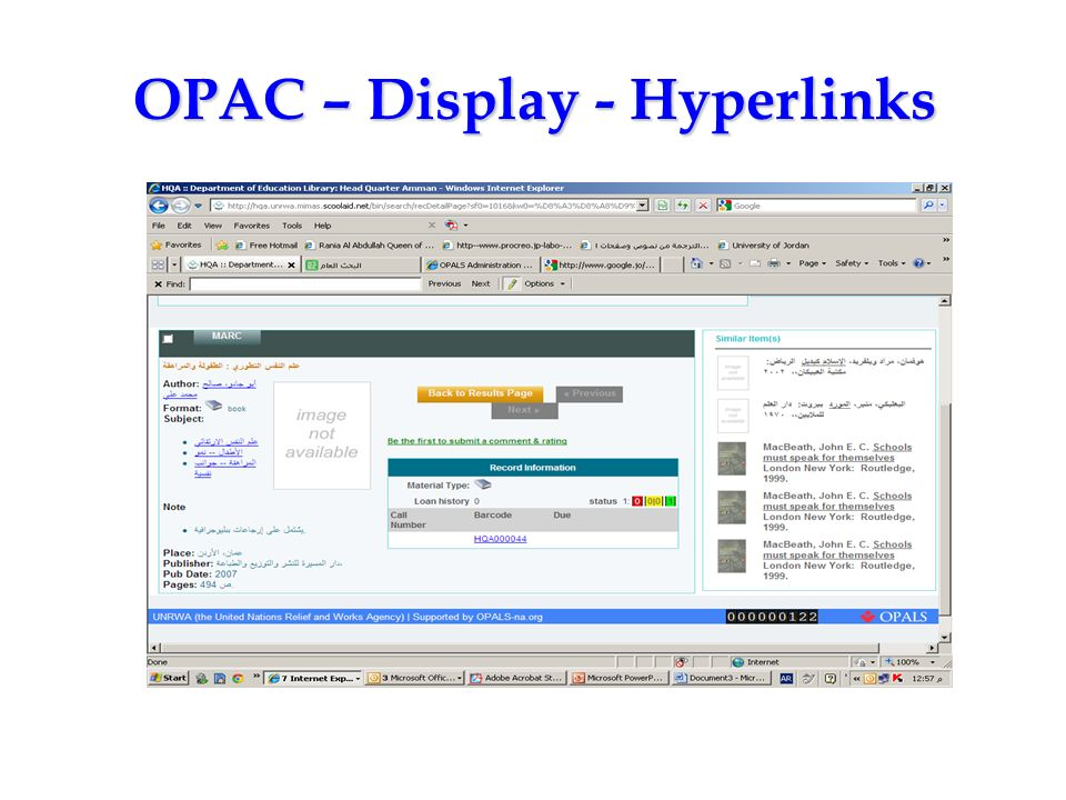 OPAC – Display - Hyperlinks