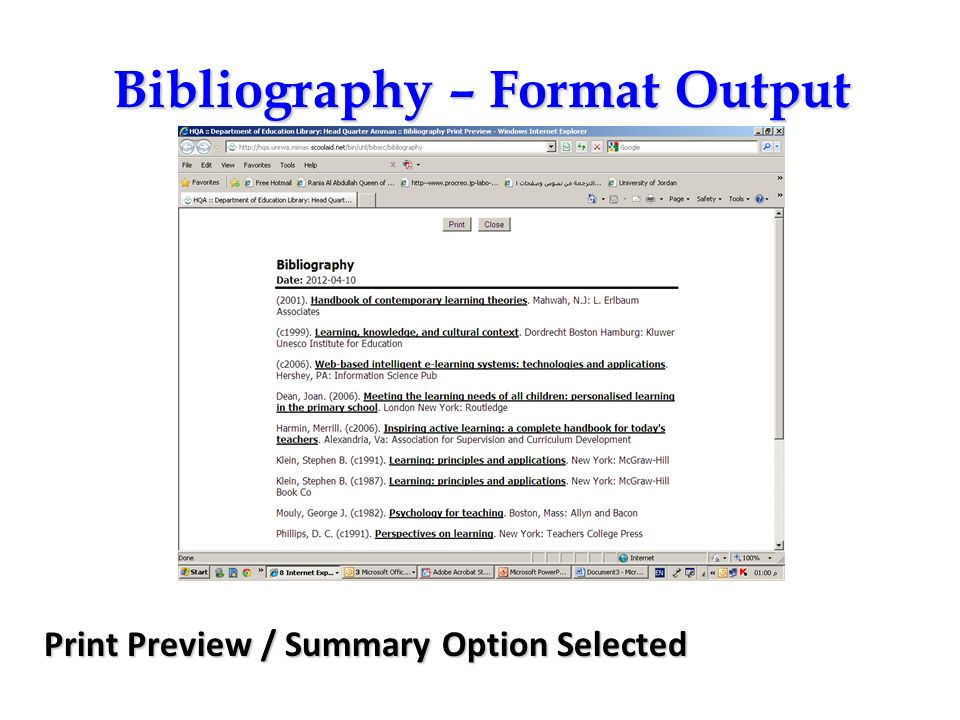 Bibliography – Format Output