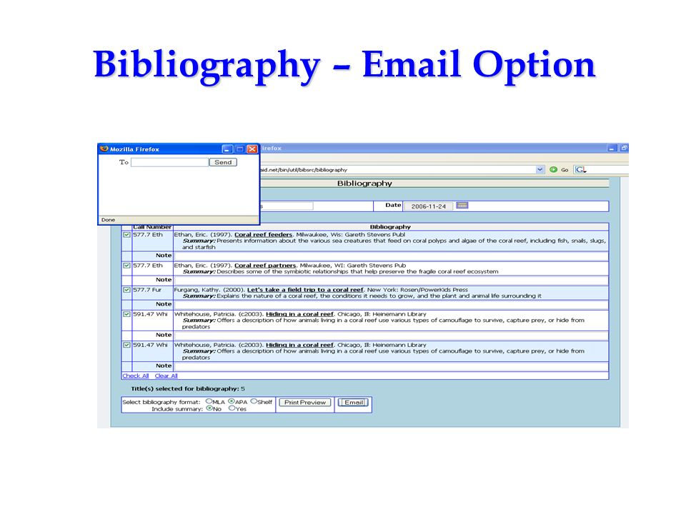 Bibliography – Email Option
