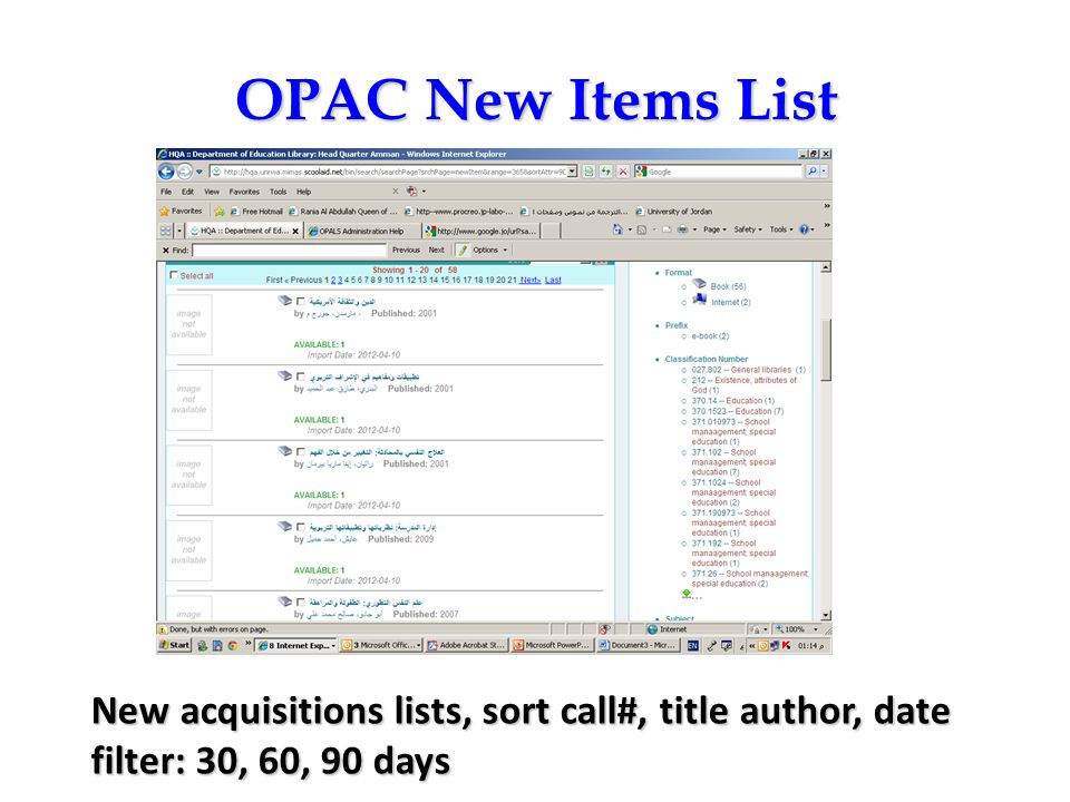 OPAC New Items List OPAC – New Items List.